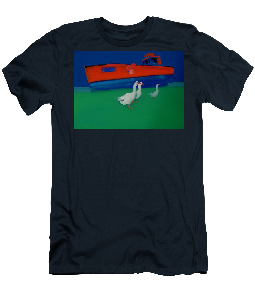 Geese Men's T-Shirt (Athletic Fit) featuring the painting Cool And Dry by Charles Stuart