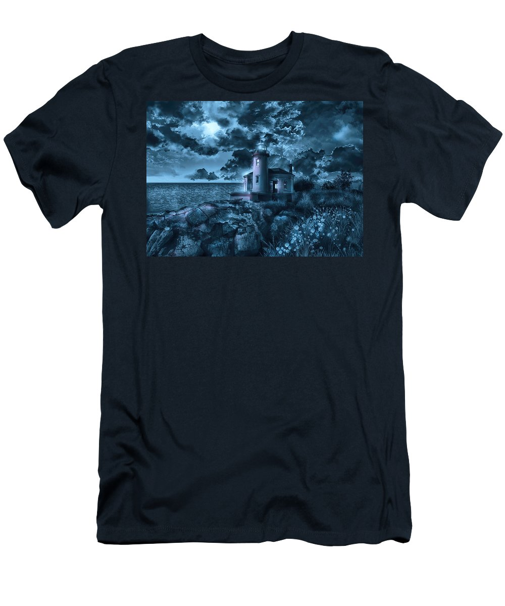 Lighthouse Men's T-Shirt (Athletic Fit) featuring the painting Coquille River Lighthouse 3 by Bekim Art