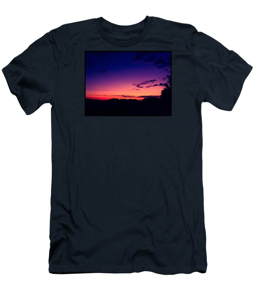 Sunset Men's T-Shirt (Athletic Fit) featuring the photograph Country Dusk by Karen Dzielsky