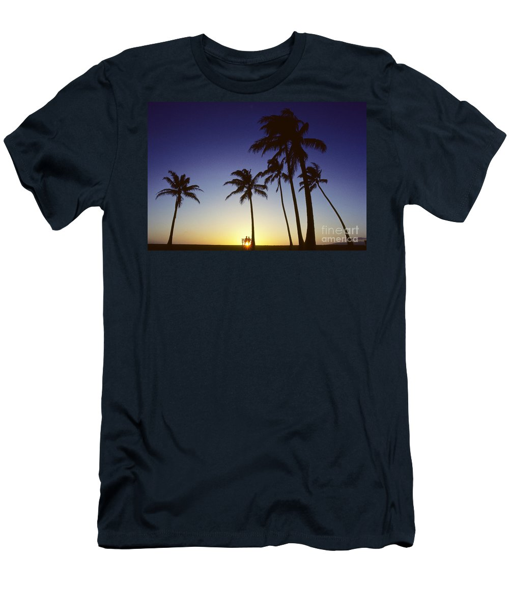 Beach Men's T-Shirt (Athletic Fit) featuring the photograph Couple And Sunset Palms by Carl Shaneff - Printscapes