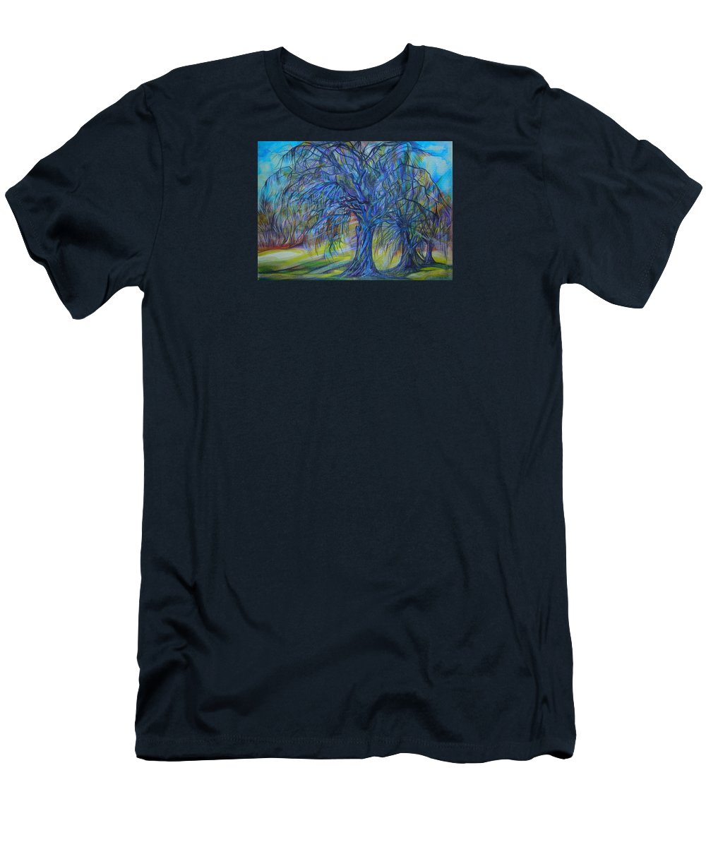 Blue Men's T-Shirt (Athletic Fit) featuring the drawing Crystal Light by Anna Duyunova