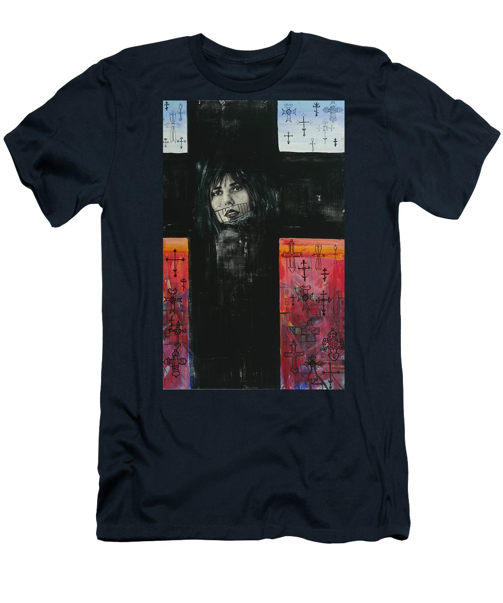 Cross Men's T-Shirt (Athletic Fit) featuring the painting Crossroad by Yelena Tylkina