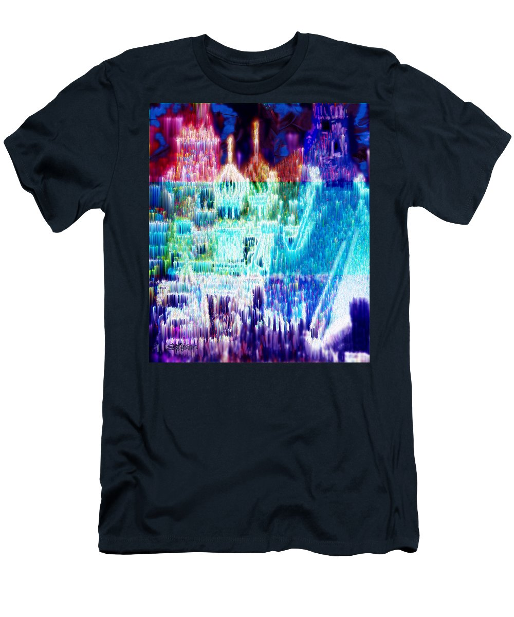 Northern Lights Men's T-Shirt (Athletic Fit) featuring the digital art Crystal City by Seth Weaver