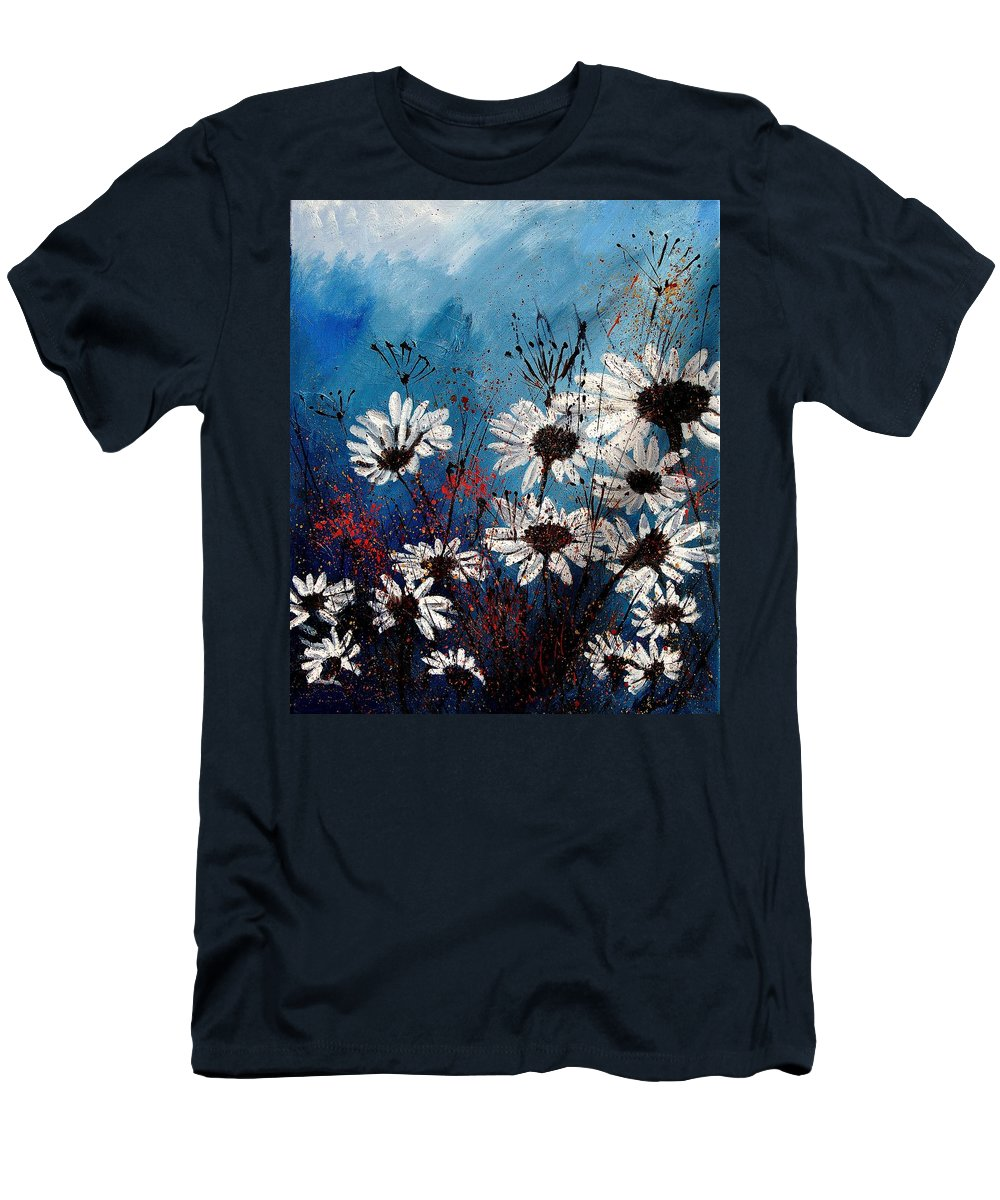 Flowers Men's T-Shirt (Athletic Fit) featuring the painting Daisies 59060 by Pol Ledent