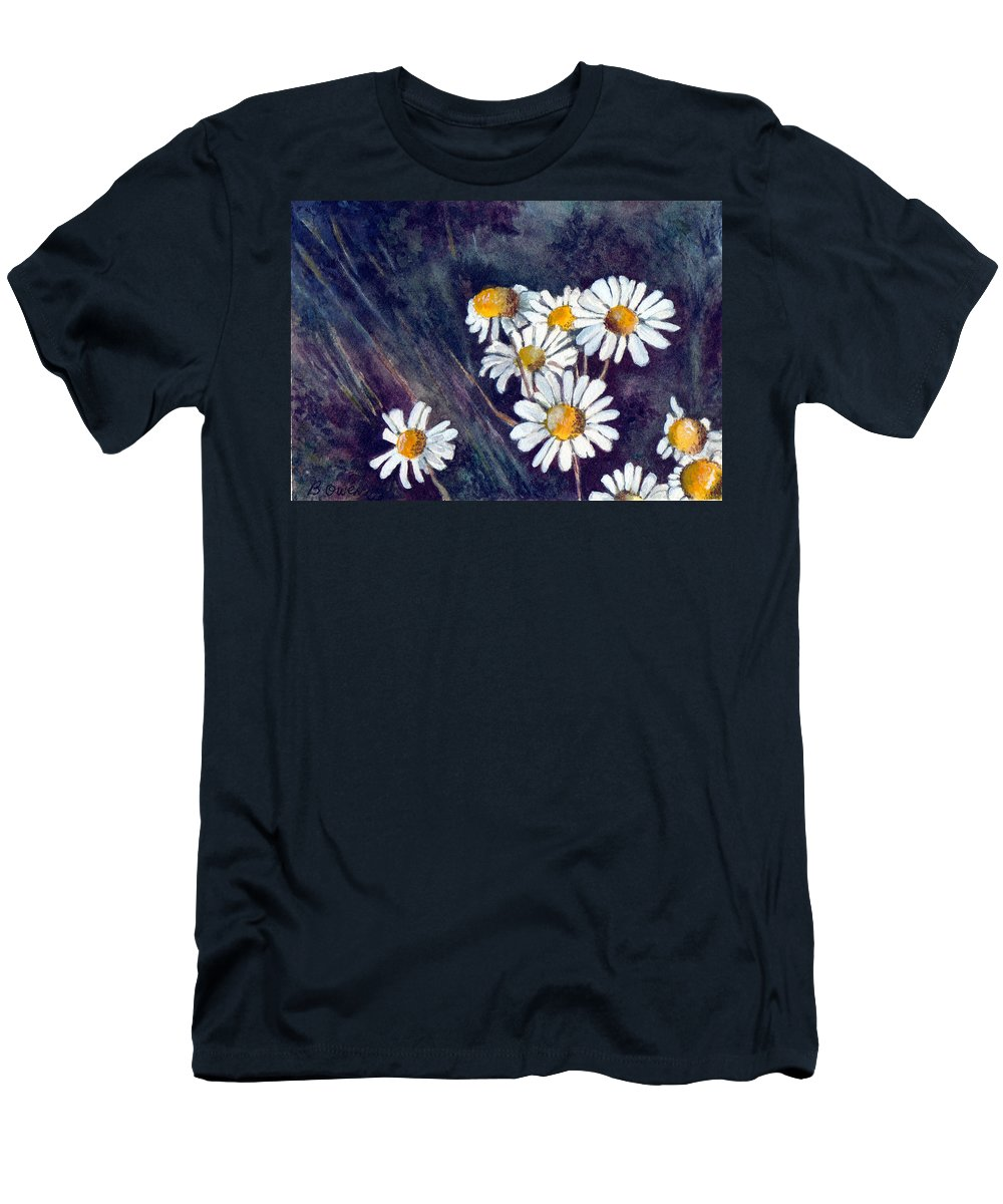 Watercolor Still Life Daisies Flowers Floral Men's T-Shirt (Athletic Fit) featuring the painting Daisies by Brenda Owen