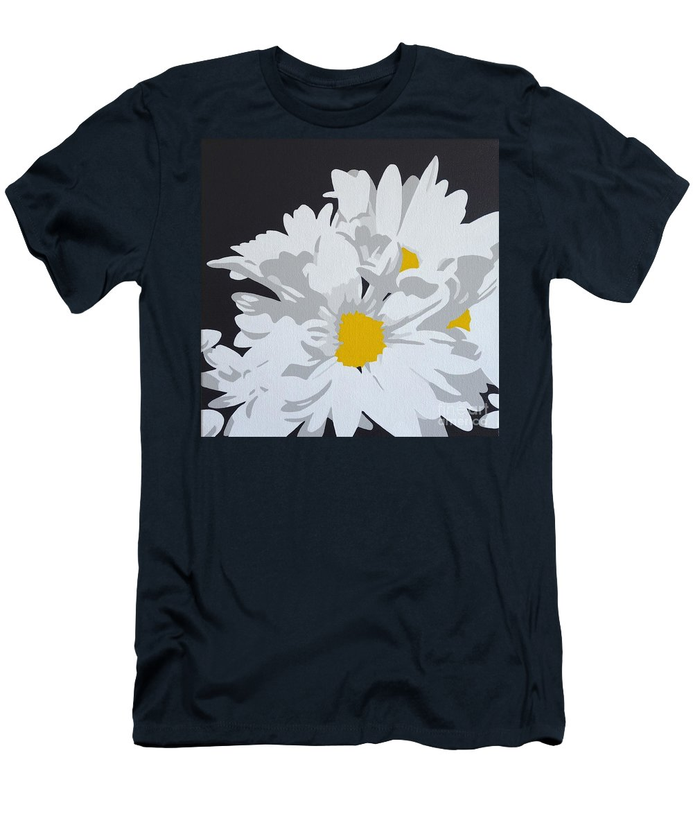 Macro Men's T-Shirt (Athletic Fit) featuring the painting Daisy, Daisy How Does Your Garden Grow...... by Susan Porter