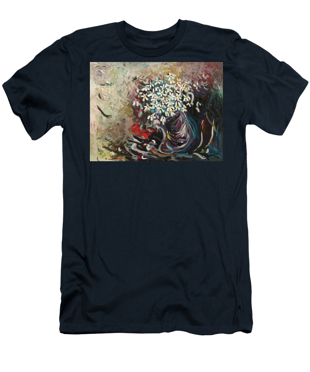 Daisy Paintings Men's T-Shirt (Athletic Fit) featuring the painting Daisy In Vase3 by Seon-Jeong Kim