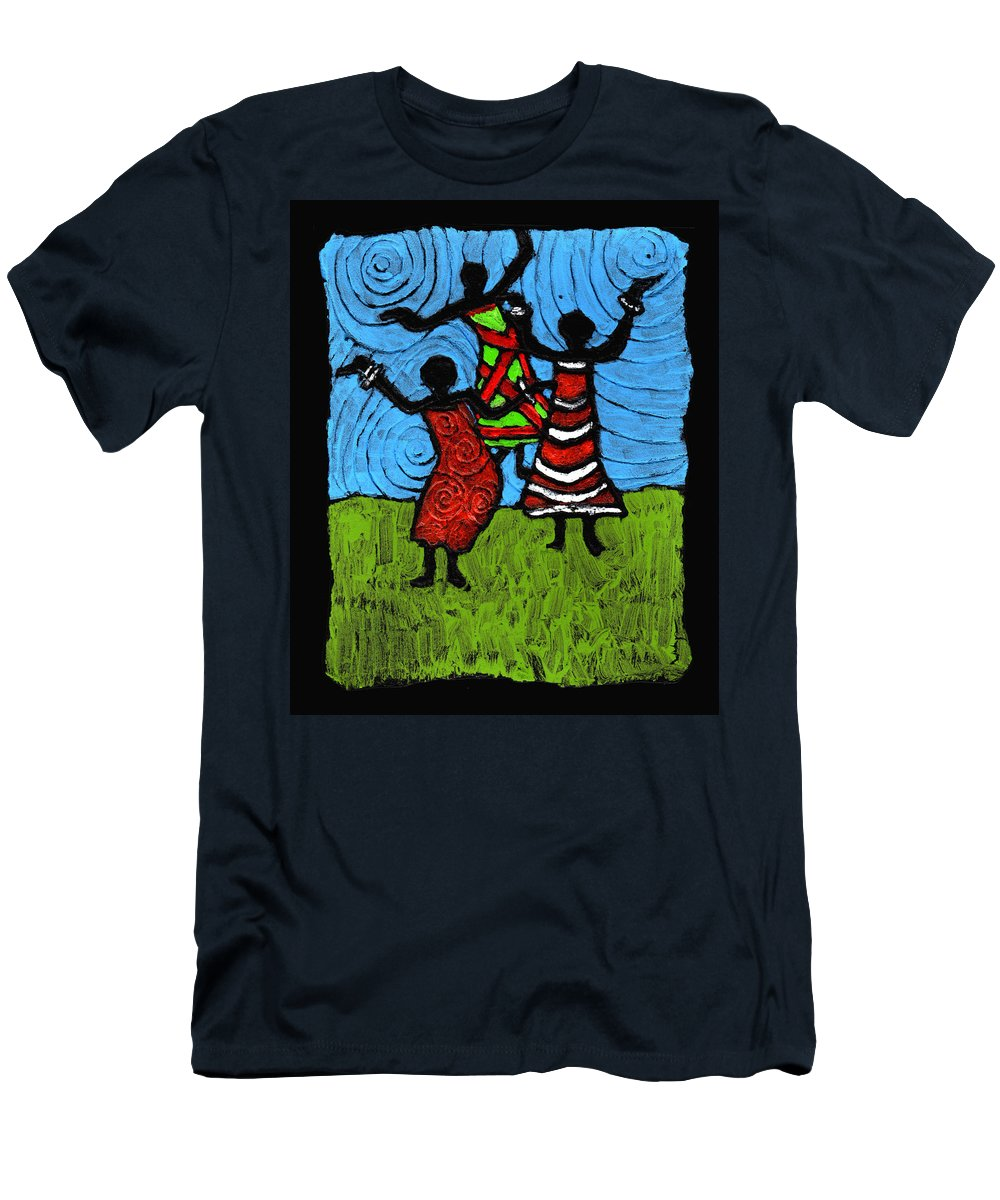 Black Art Men's T-Shirt (Athletic Fit) featuring the painting Dancing So Good I Started To Fly by Wayne Potrafka