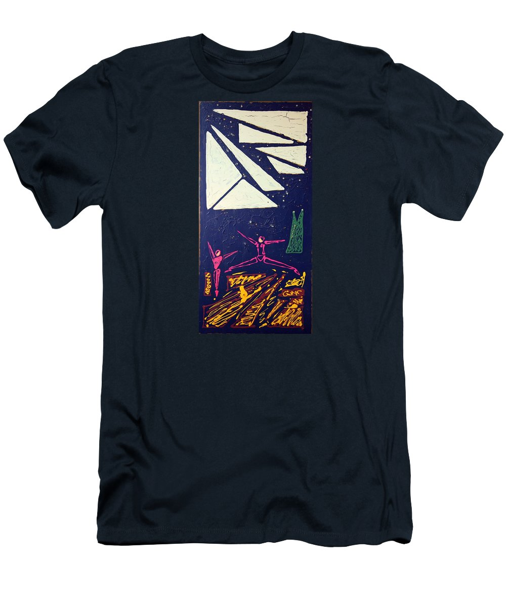 Dancers Men's T-Shirt (Athletic Fit) featuring the mixed media Dancing Under The Starry Skies by J R Seymour