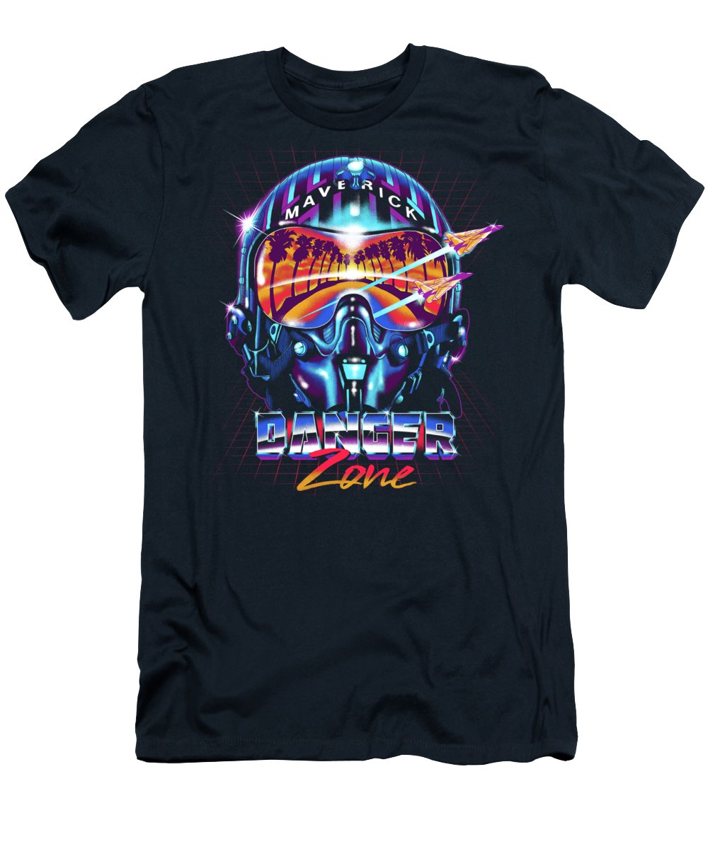 Helmet T-Shirt featuring the digital art Danger Zone / Top Gun / Maverick / Pilot Helmet / Pop Culture / 1980s Movie / 80s by Zerobriant Designs