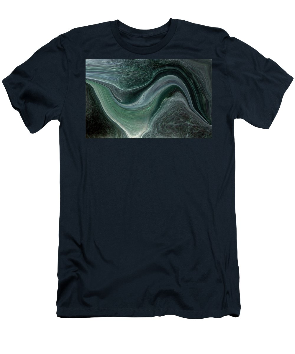 Abstract Men's T-Shirt (Athletic Fit) featuring the photograph Dark Green Flow by Allan Hughes