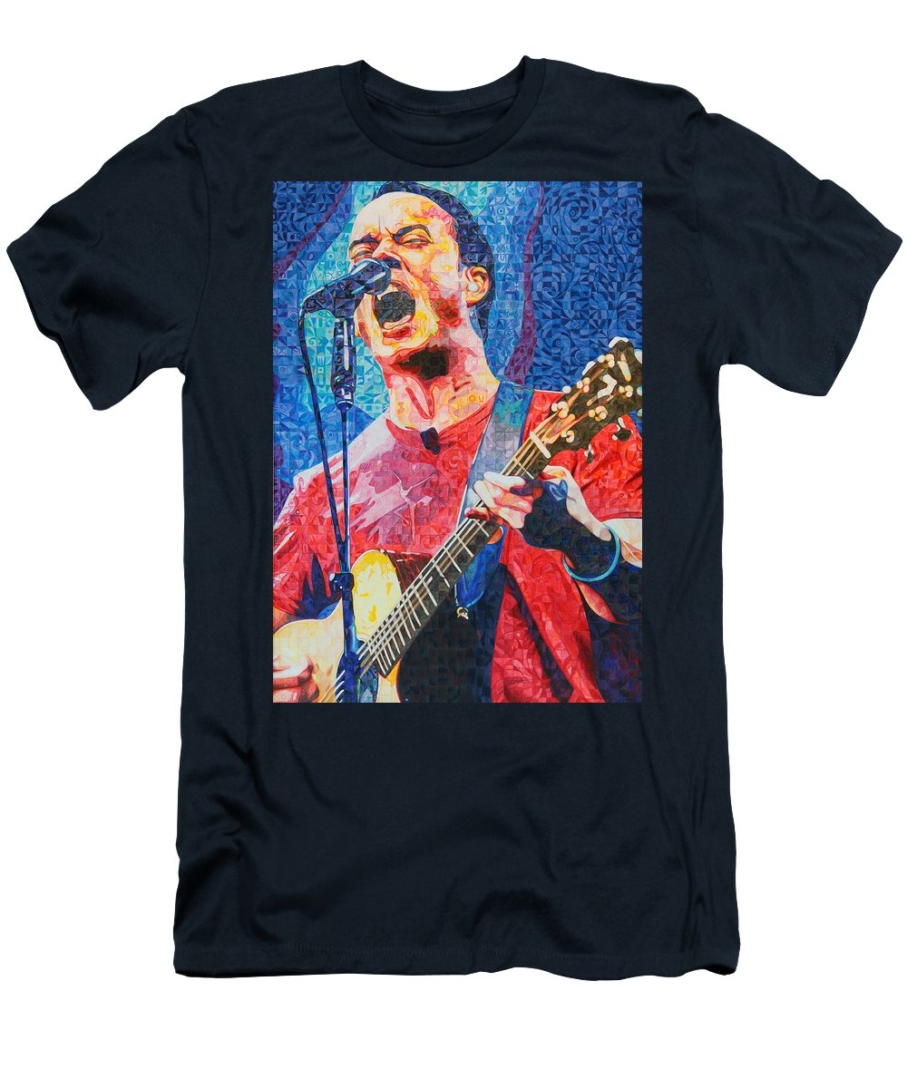 Dave Matthews Men's T-Shirt (Athletic Fit) featuring the drawing Dave Matthews Squared by Joshua Morton