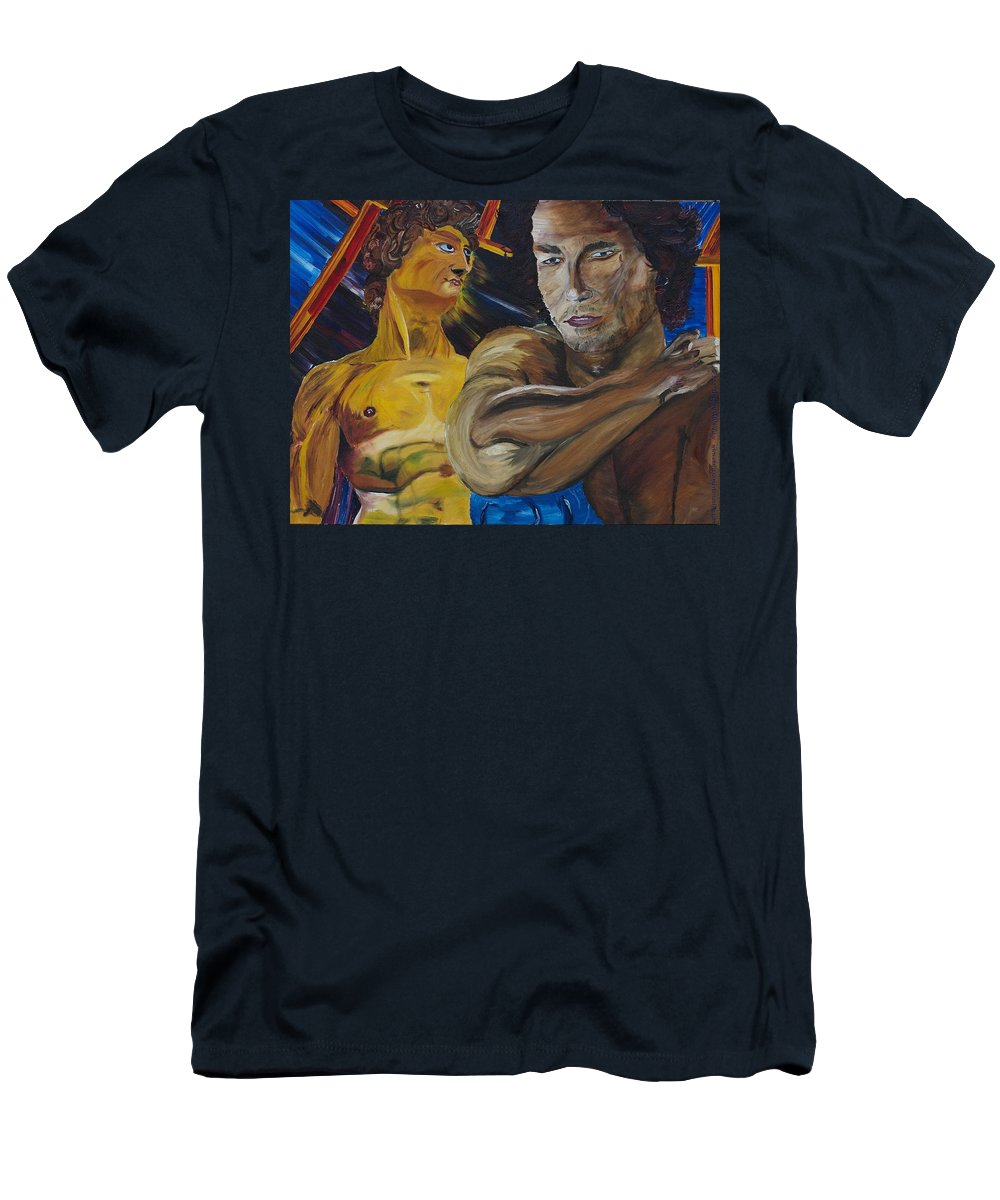 The David T-Shirt featuring the painting David v. Hollywood by Modern Impressionism