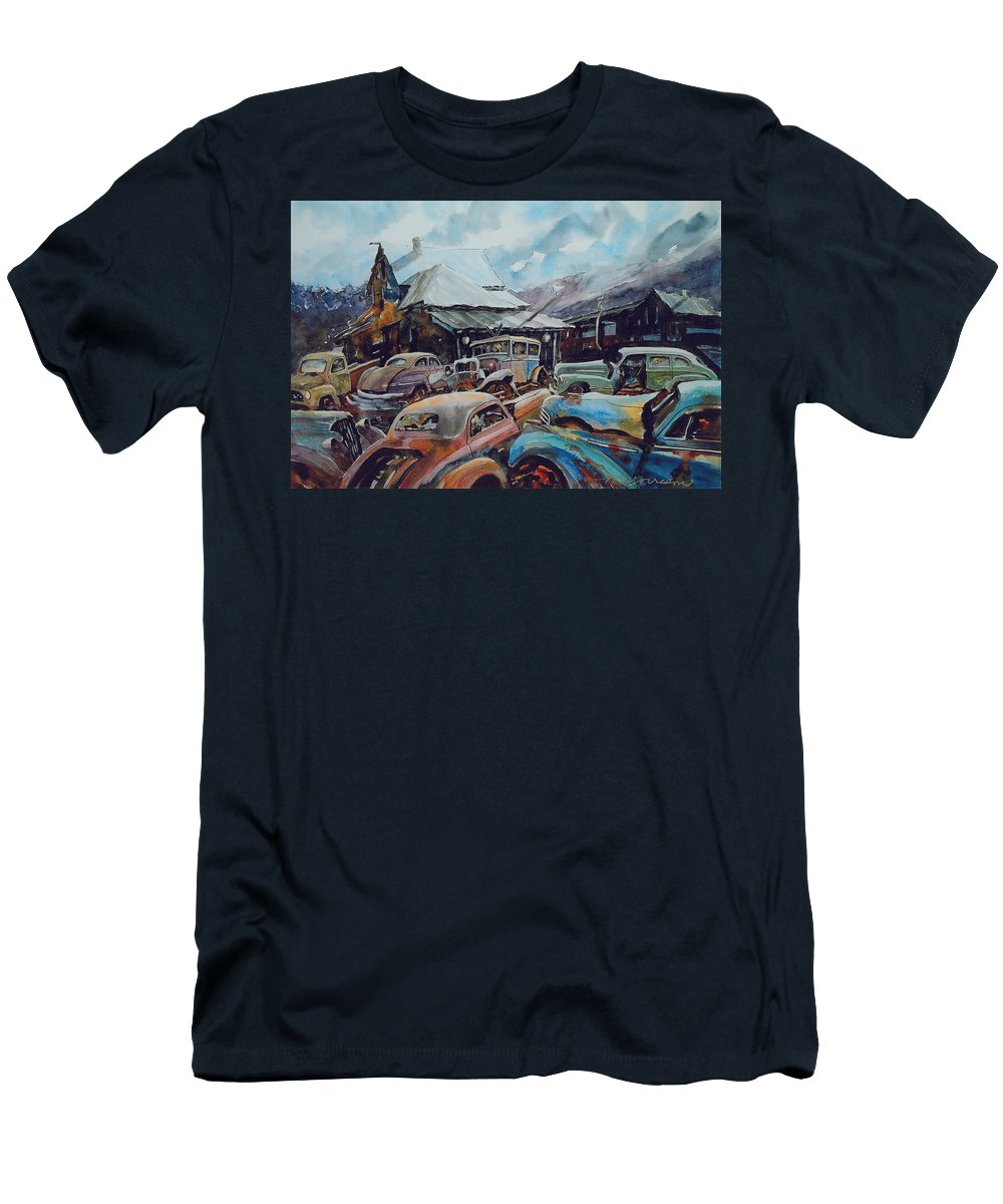 Cars T-Shirt featuring the painting Derelicts at Hillsboro by Ron Morrison