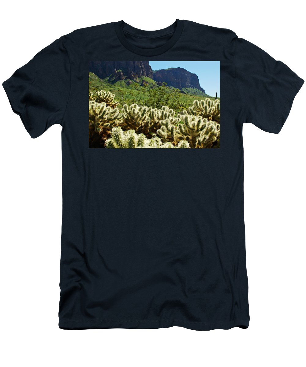 Arizona Men's T-Shirt (Athletic Fit) featuring the photograph Desert Cholla 1 by Jill Reger