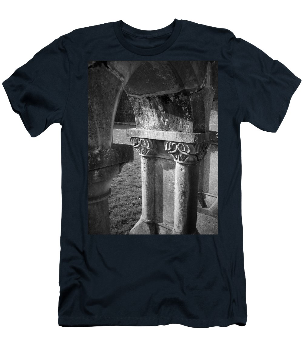 Irish Men's T-Shirt (Athletic Fit) featuring the photograph Detail Of Cloister At Cong Abbey Cong Ireland by Teresa Mucha