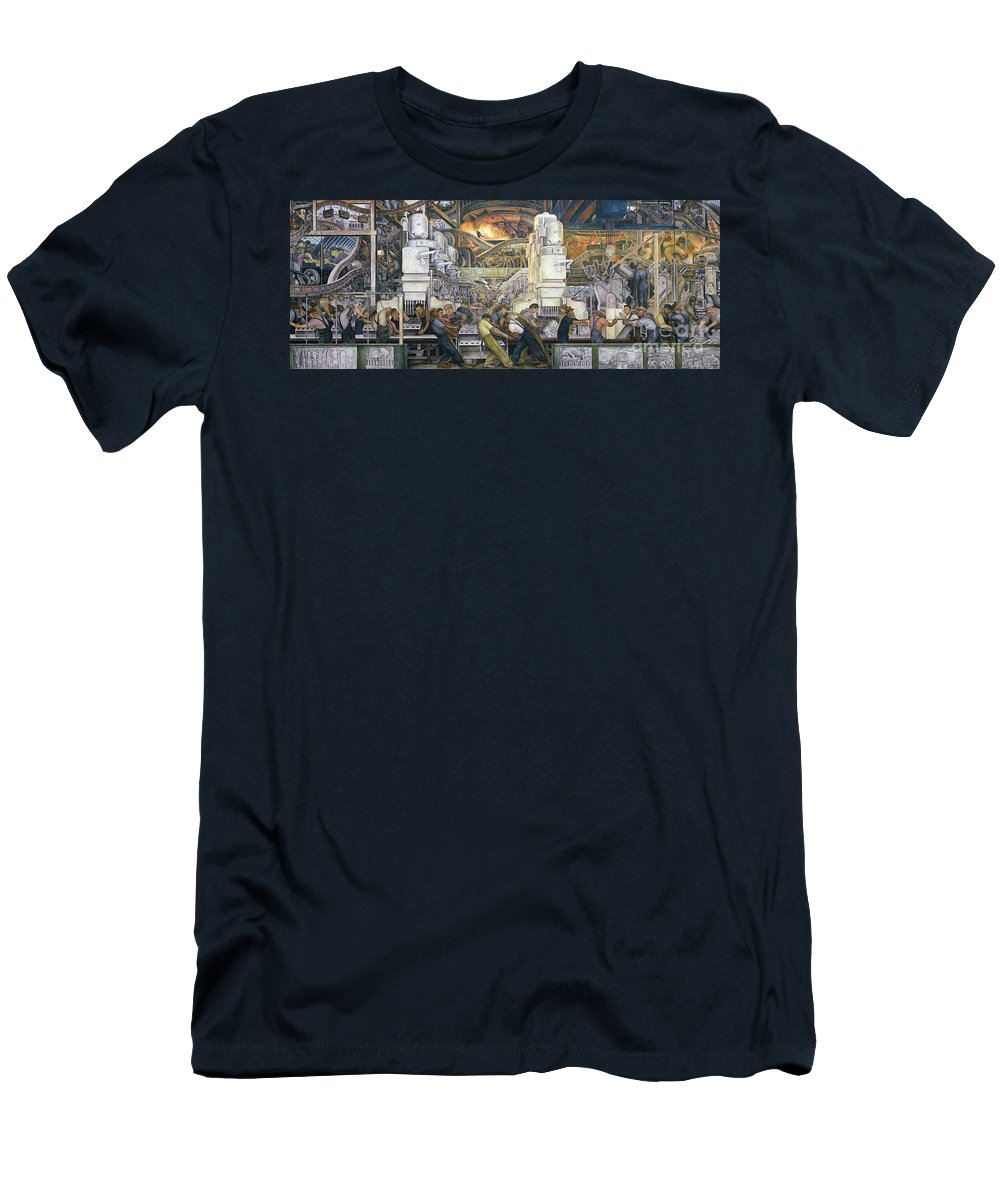 Machinery; Factory; Production Line; Labour; Worker; Male; Industrial Age; Technology; Automobile; Interior; Manufacturing; Work; Detroit Industry Men's T-Shirt (Athletic Fit) featuring the painting Detroit Industry  North Wall by Diego Rivera