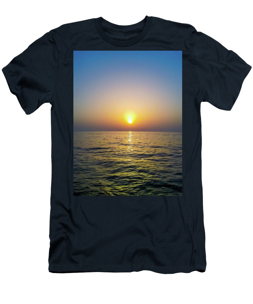 Sea Beach Sunset Sun Sky Nature Men's T-Shirt (Athletic Fit) featuring the pyrography Die With Me Sea by Eliass Lavey