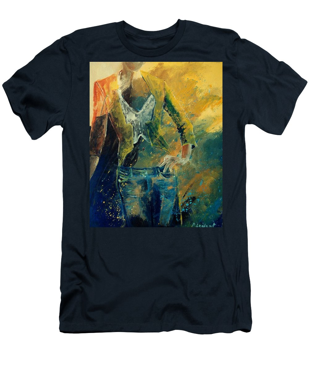 Woman Girl Fashion Men's T-Shirt (Athletic Fit) featuring the painting Dinner Jacket by Pol Ledent
