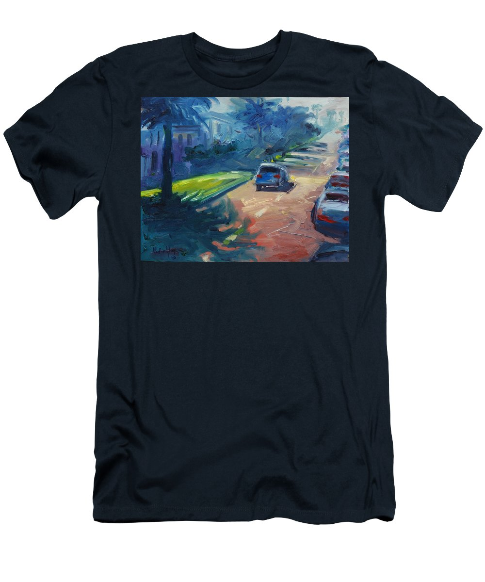 Cityscape Men's T-Shirt (Athletic Fit) featuring the painting Dolores Street by Rick Nederlof