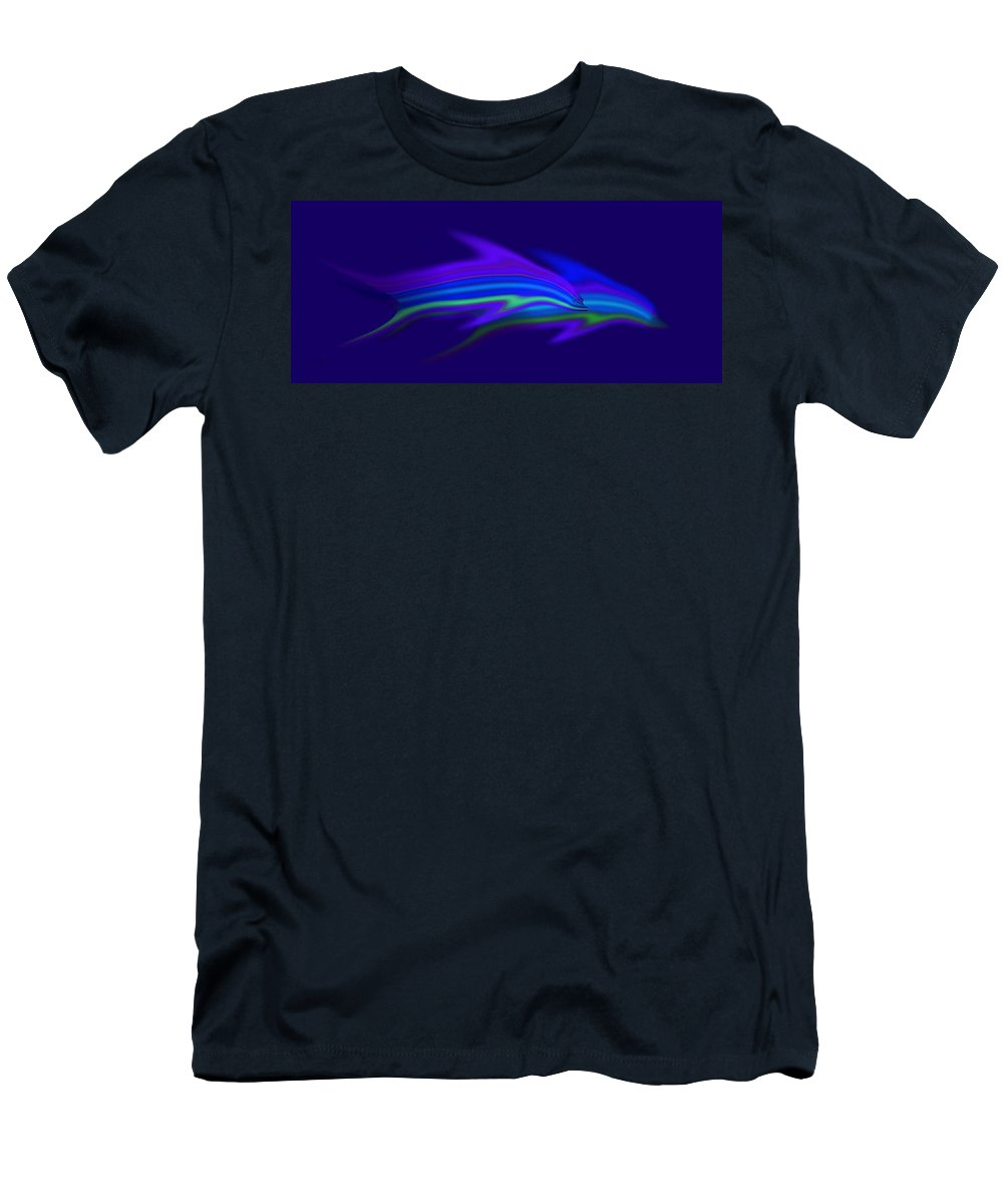 Blue Dolphin Men's T-Shirt (Athletic Fit) featuring the painting Dolphin Blue by Charles Stuart