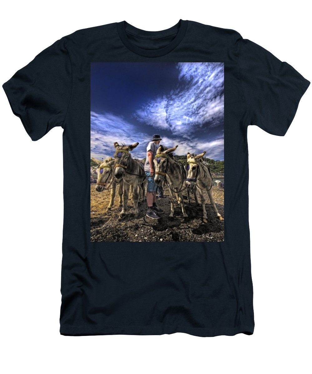 Donkey Men's T-Shirt (Athletic Fit) featuring the photograph Donkey Rides by Meirion Matthias