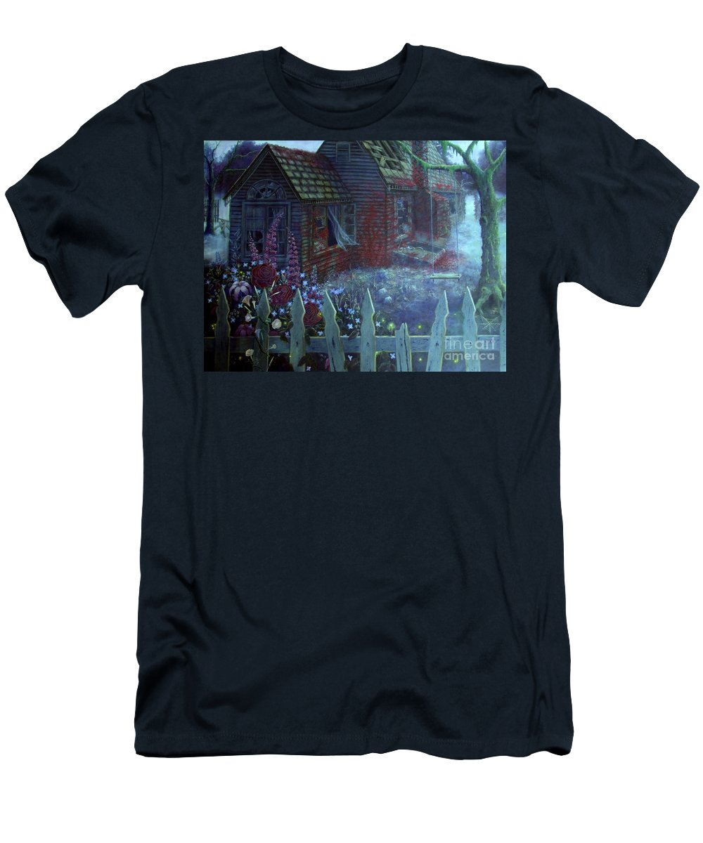 House Men's T-Shirt (Athletic Fit) featuring the painting Don't Go Down There by Shauna Eggleston