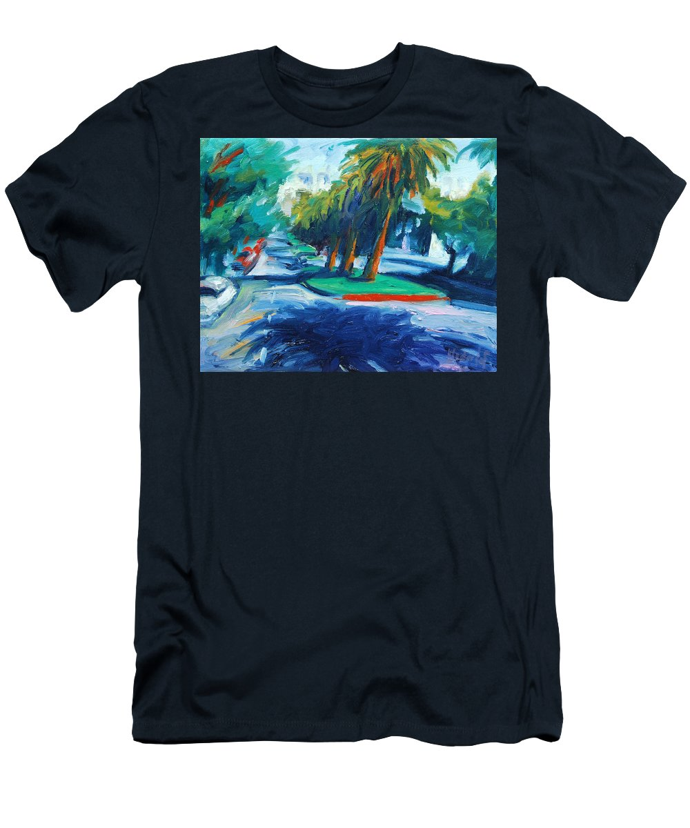 San Francisco Men's T-Shirt (Athletic Fit) featuring the painting Downhill by Rick Nederlof