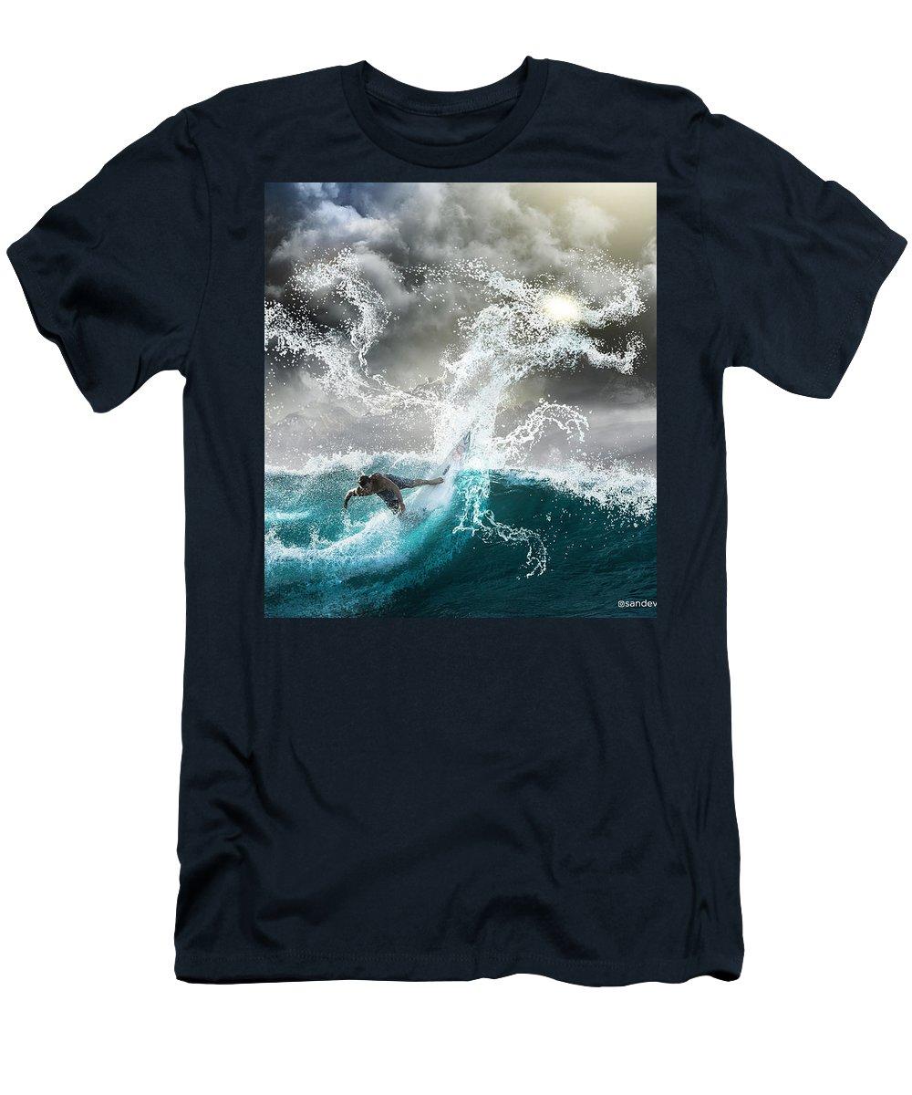 Dragon Men's T-Shirt (Athletic Fit) featuring the digital art Dragon's Soul Surfer by Sandevil Sandhya
