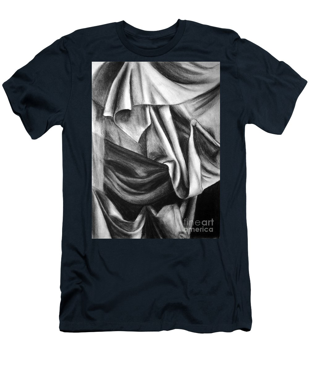 Charcoal Men's T-Shirt (Athletic Fit) featuring the drawing Drapery Still Life by Nancy Mueller
