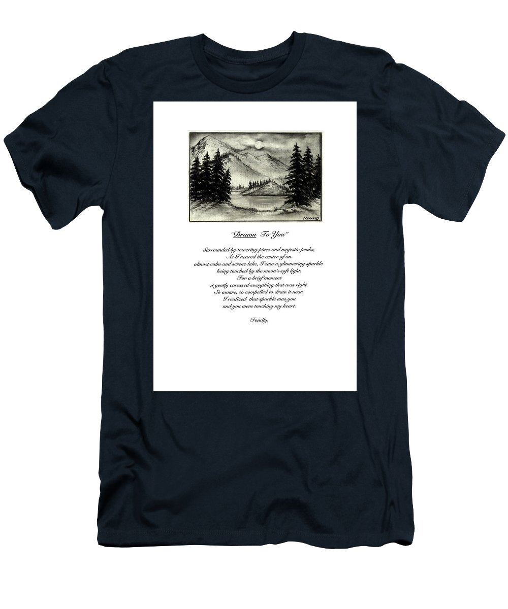 Romantic Poem And Drawing Men's T-Shirt (Athletic Fit) featuring the drawing Drawn To You by Larry Lehman