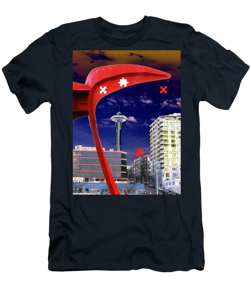 Seattle Men's T-Shirt (Athletic Fit) featuring the digital art Eagle Needle by Tim Allen