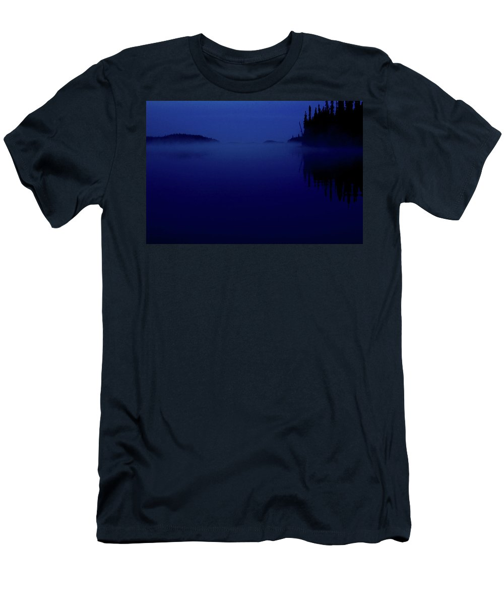 Dark Men's T-Shirt (Athletic Fit) featuring the digital art Early Morning Mist Over Lynx Lake In Northern Saskatchewan by Mark Duffy