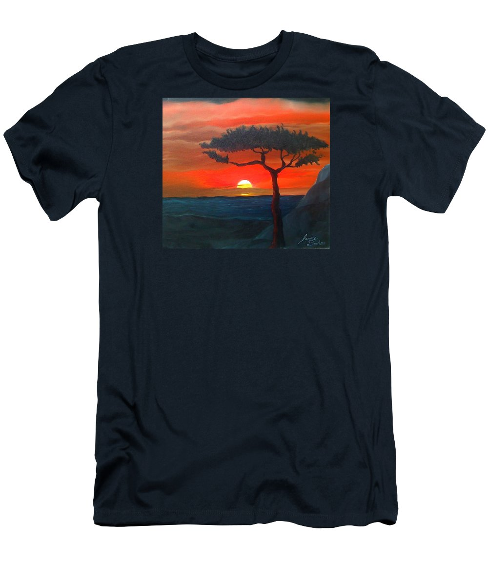 Africa! Men's T-Shirt (Athletic Fit) featuring the painting East African Sunset by Dunbar's Modern Art