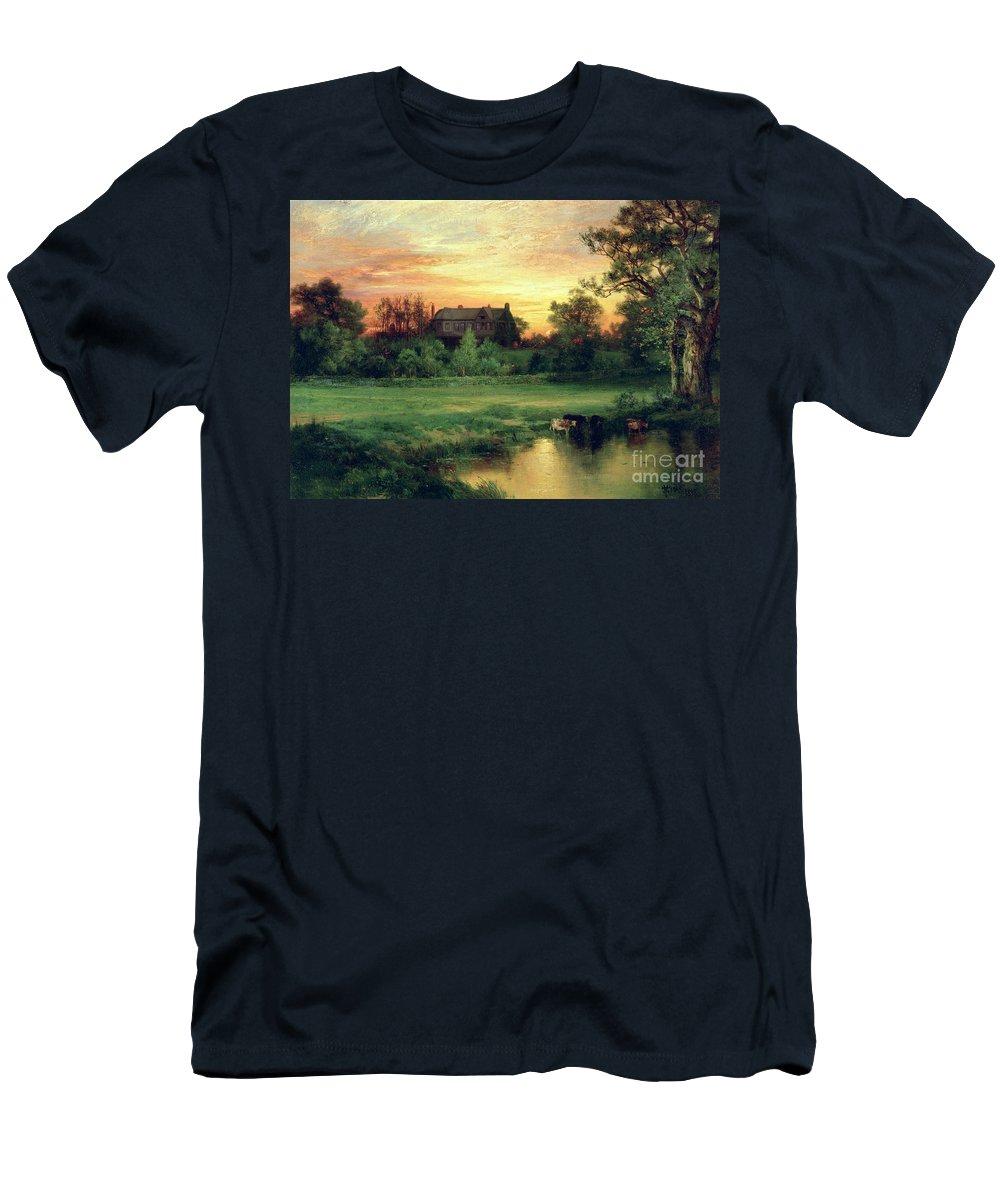 Thomas Moran Men's T-Shirt (Athletic Fit) featuring the painting Easthampton by Thomas Moran