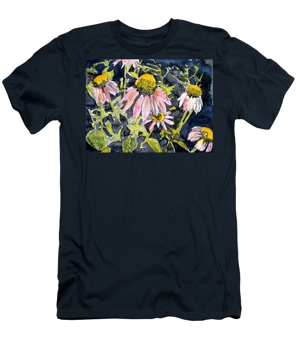 Echinacea Men's T-Shirt (Athletic Fit) featuring the painting Echinacea Coneflower 2 by Derek Mccrea