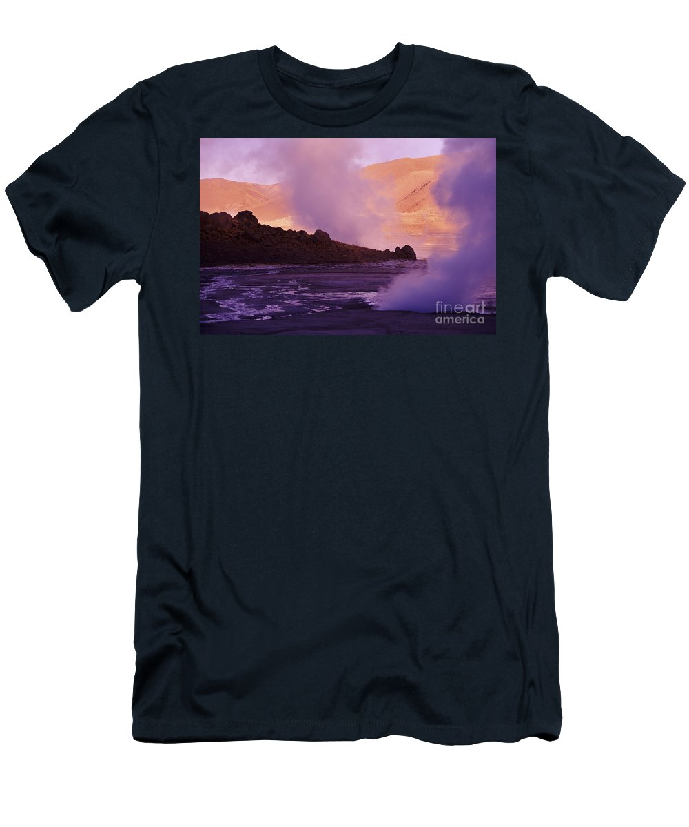 Afternoon Men's T-Shirt (Athletic Fit) featuring the photograph El Tatio Geysers by Larry Dale Gordon - Printscapes