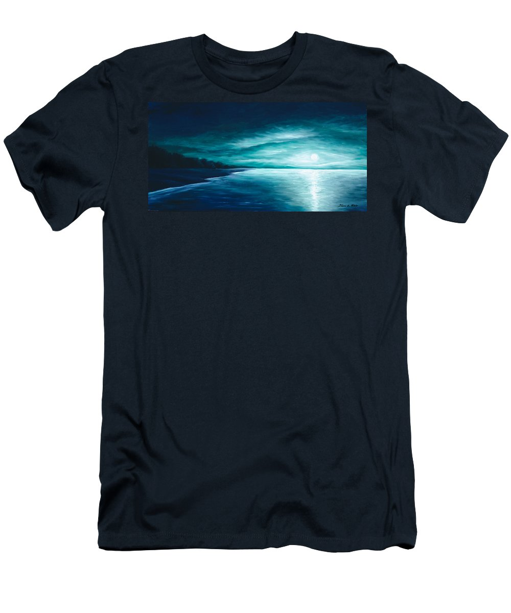 Moonscape Men's T-Shirt (Athletic Fit) featuring the painting Enchanted Moon I by James Christopher Hill