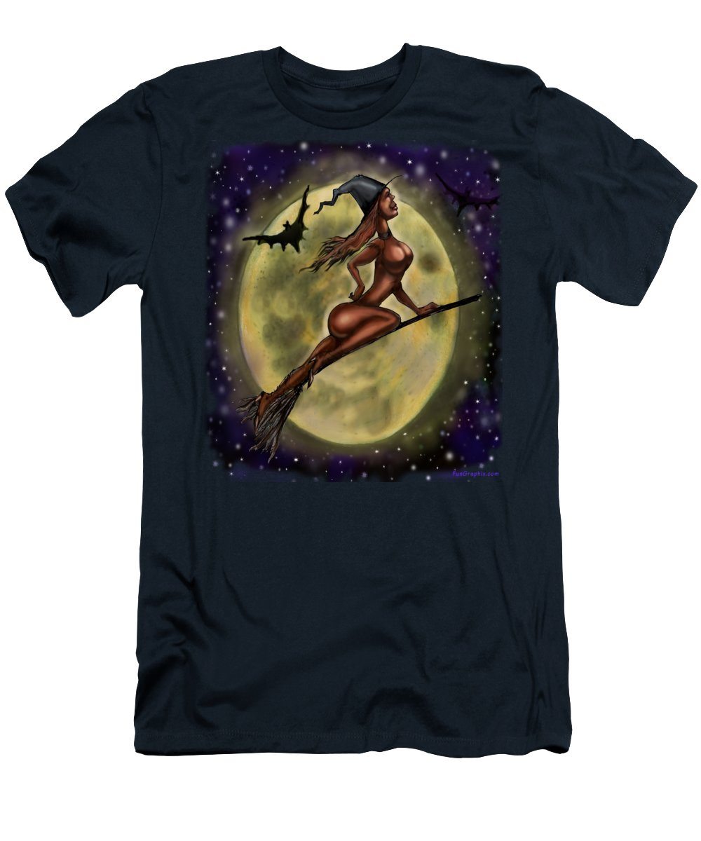 Halloween Men's T-Shirt (Athletic Fit) featuring the digital art Enchanting Halloween Witch by Kevin Middleton