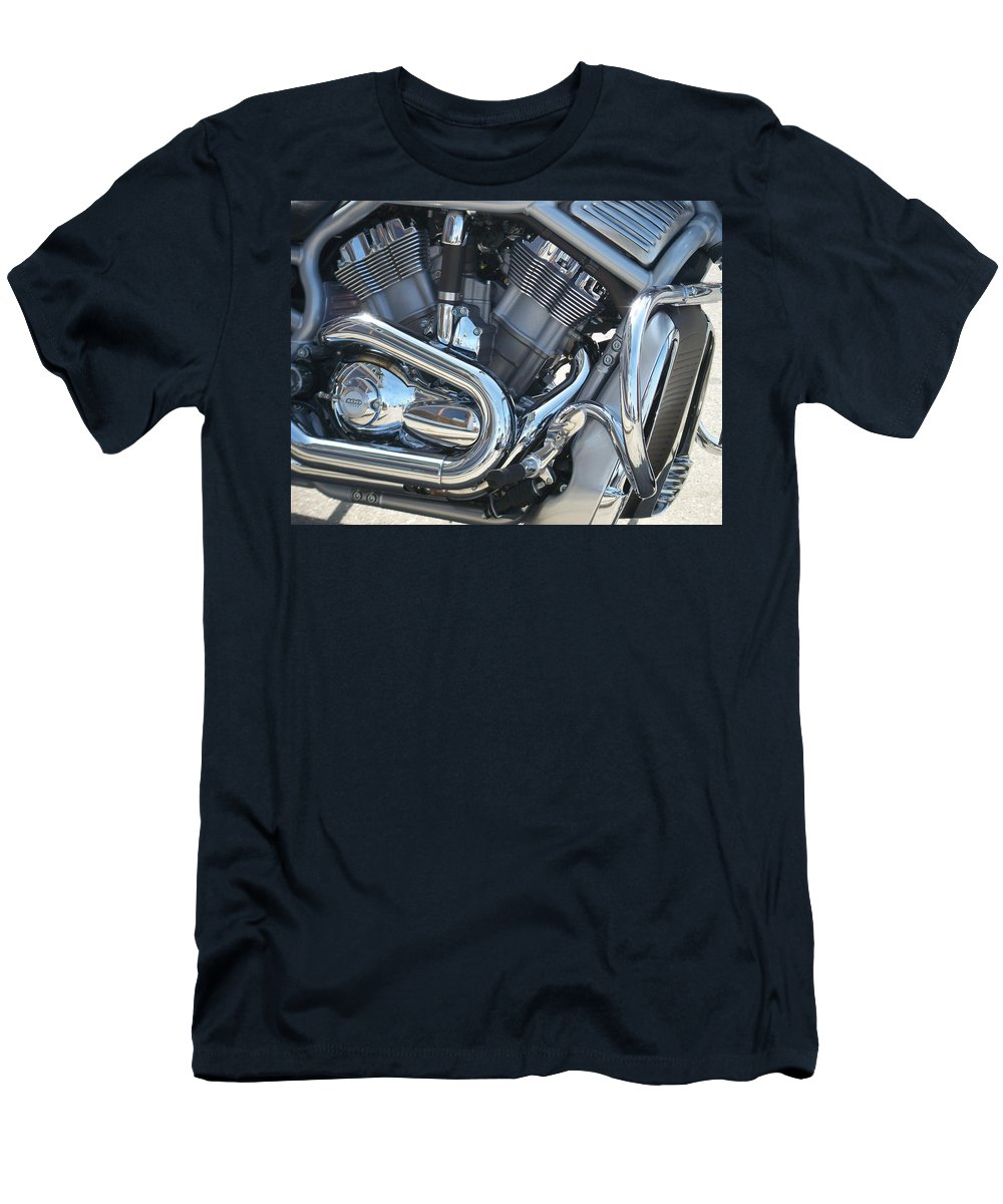 Motorcycle Men's T-Shirt (Athletic Fit) featuring the photograph Engine Close-up 1 by Anita Burgermeister