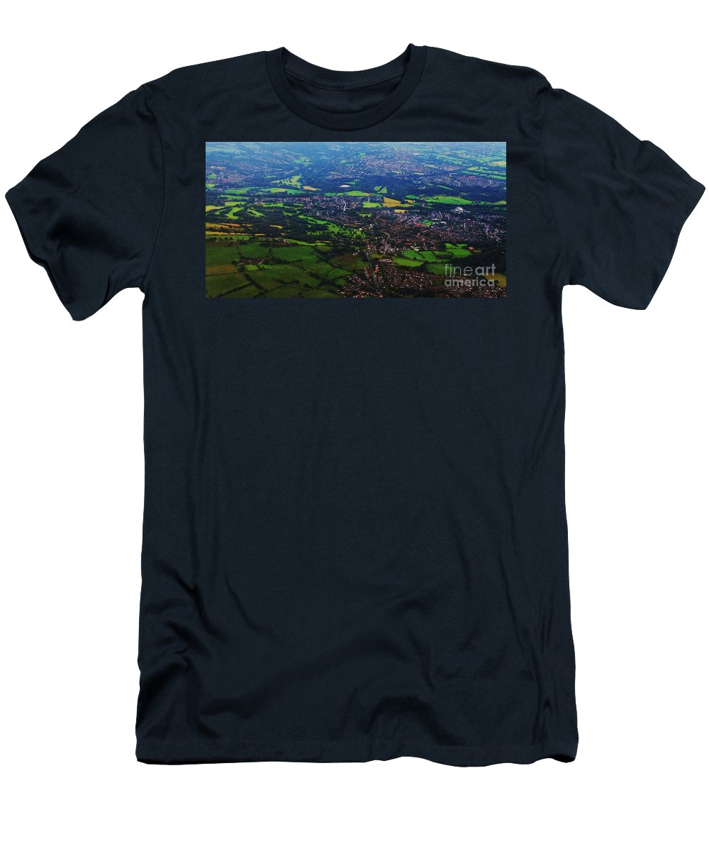Aerial Art England Rural Landscape Travel Green And Pleasant Land Panoramic Natural Beauty Canvas Print Suggested Metal Frame Suitable Poster Print Available On Greeting Cards Phone Cases Tote Bags Shower Curtains T Shirts Pouches Weekender Tote Bags And Mugs Men's T-Shirt (Athletic Fit) featuring the photograph An Aerial Vision Of England by Marcus Dagan