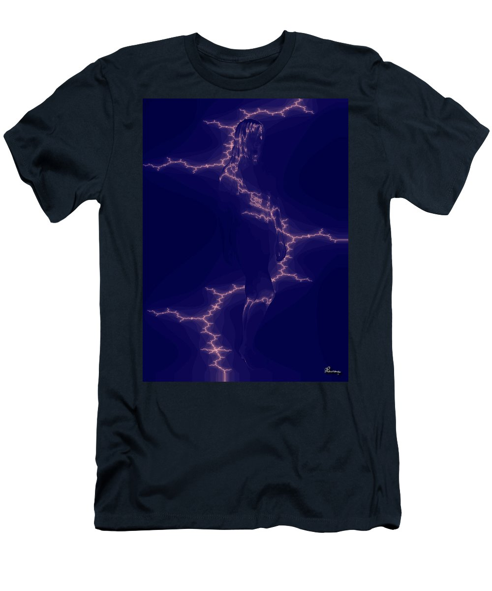 Woman Lightening Blue Digital Drawing Illusion Original Men's T-Shirt (Athletic Fit) featuring the digital art Enlightening by Andrea Lawrence