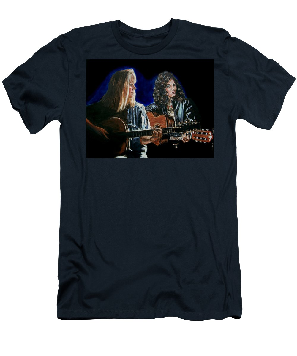 Katie Melua Men's T-Shirt (Athletic Fit) featuring the painting Eva Cassidy And Katie Melua by Bryan Bustard