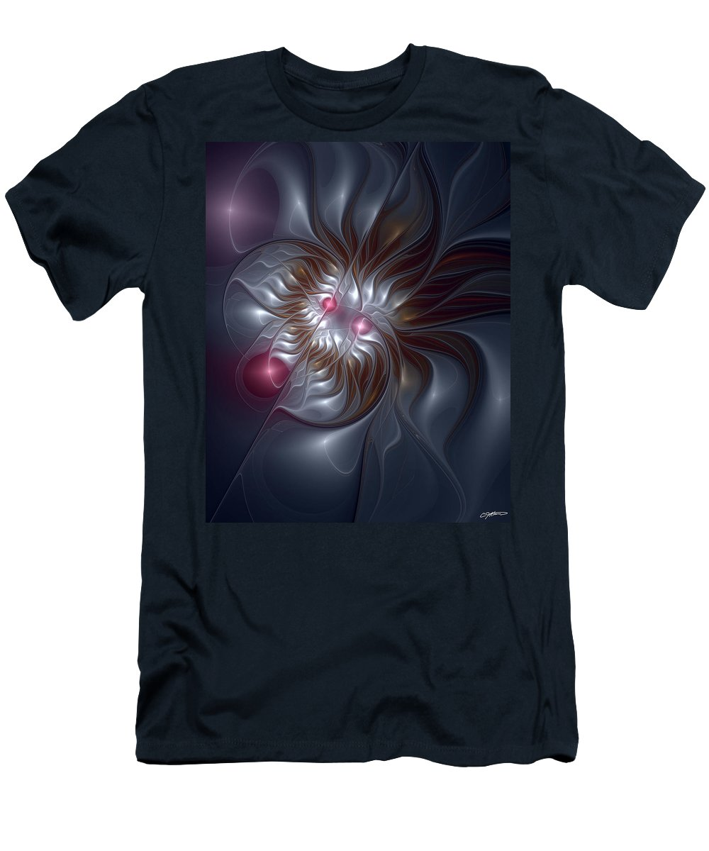 Abstract Men's T-Shirt (Athletic Fit) featuring the digital art Evanescing Emanations by Casey Kotas