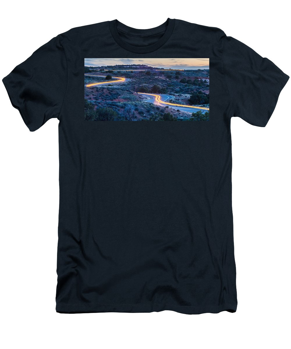 Park Men's T-Shirt (Athletic Fit) featuring the photograph evening drive at Canyonlands National park Utah by Alex Grichenko