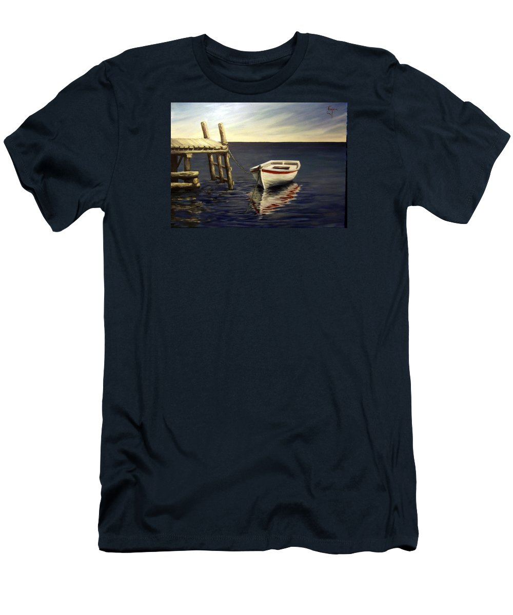 Sea Water Reflection Boat Seascape Coast Evening Dawn Marine Men's T-Shirt (Athletic Fit) featuring the painting Evening Sea by Natalia Tejera