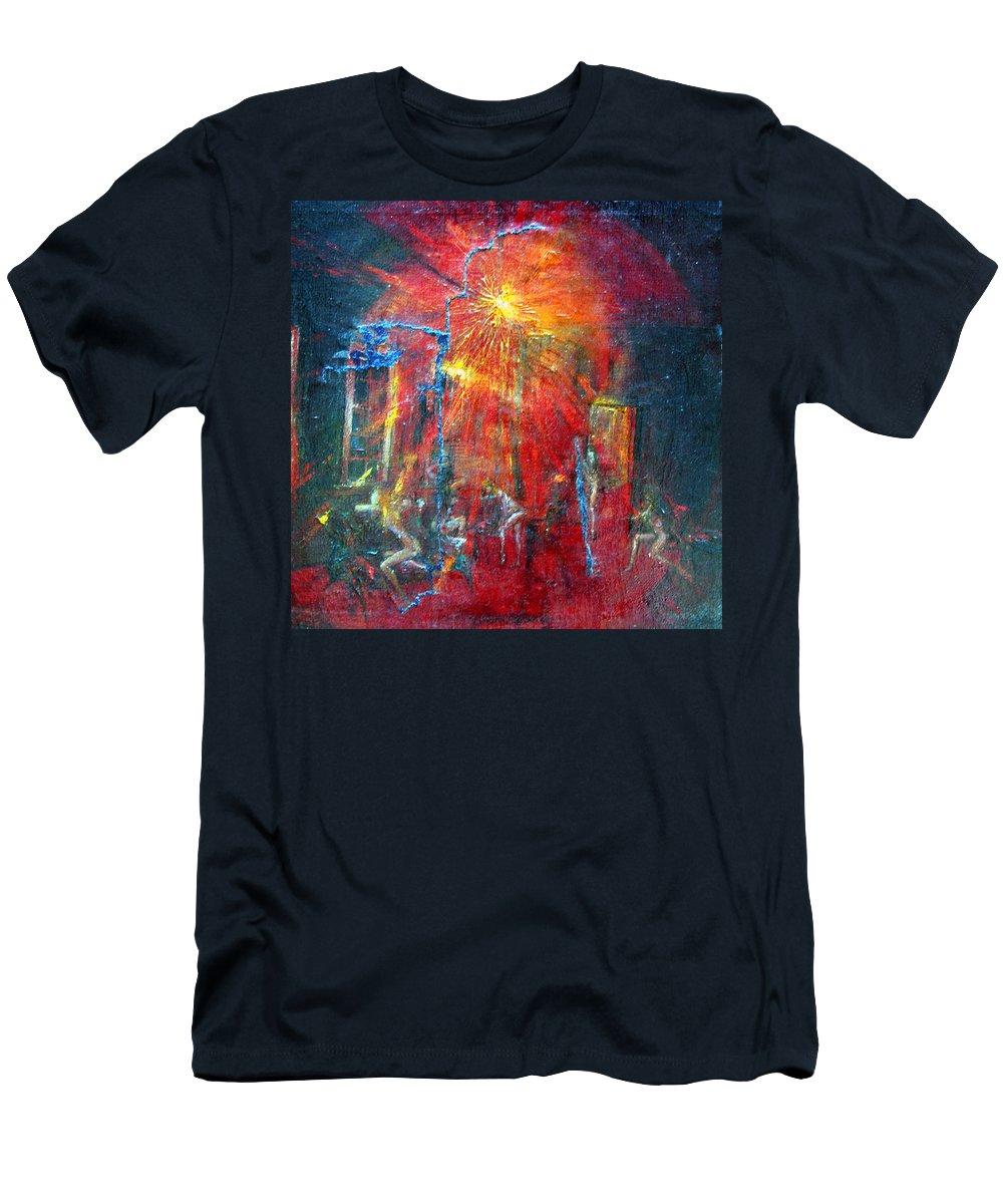 Imagination Men's T-Shirt (Athletic Fit) featuring the painting Expectation by Wojtek Kowalski