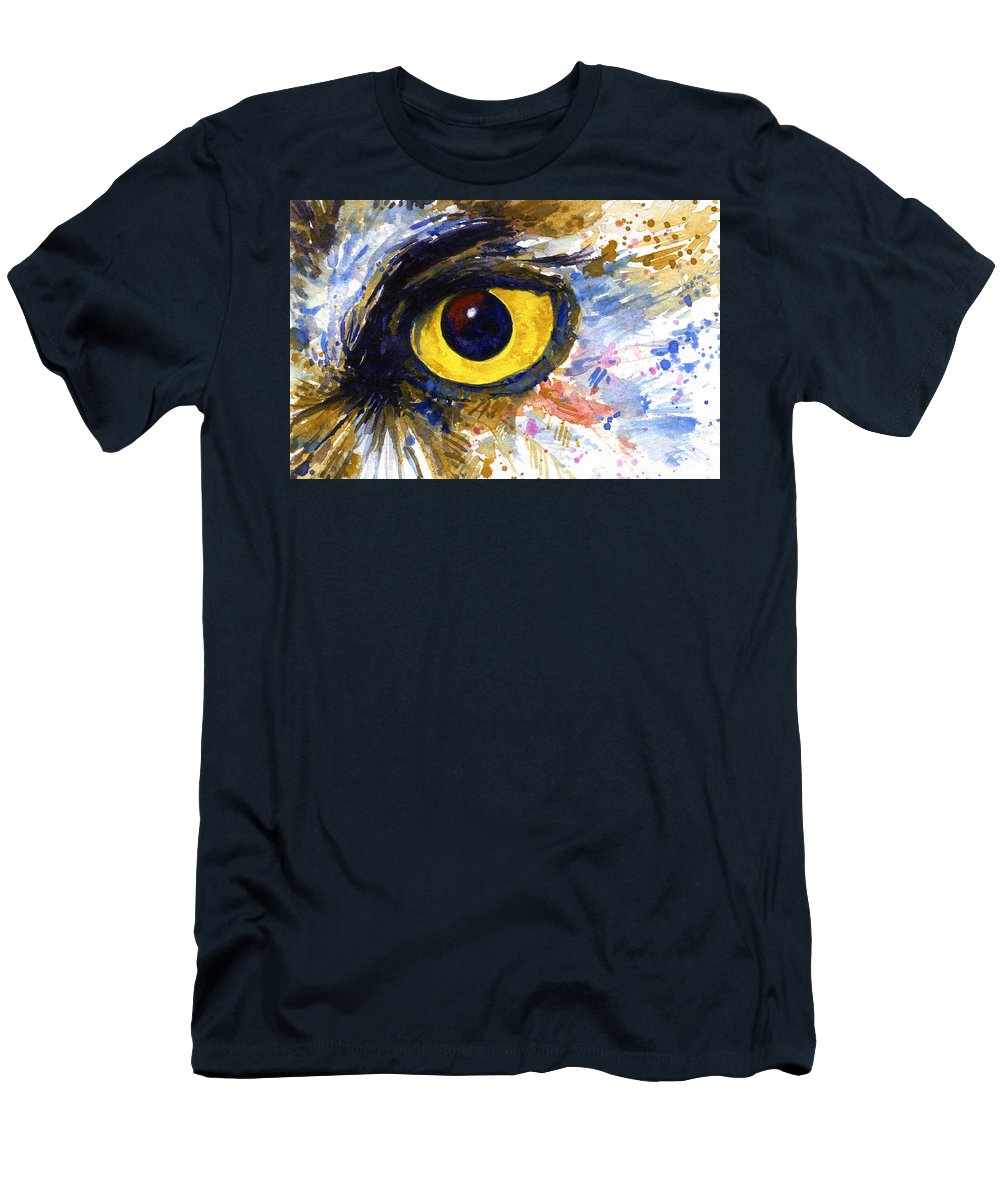 Owls Men's T-Shirt (Athletic Fit) featuring the painting Eyes Of Owl's No.6 by John D Benson