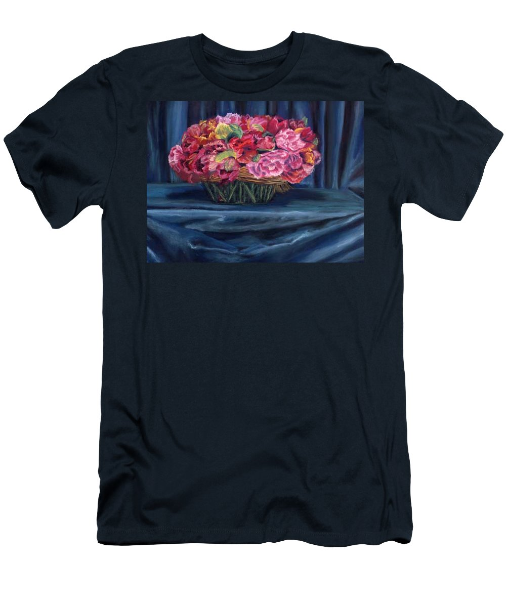 Flowers Men's T-Shirt (Athletic Fit) featuring the painting Fabric And Flowers by Sharon E Allen