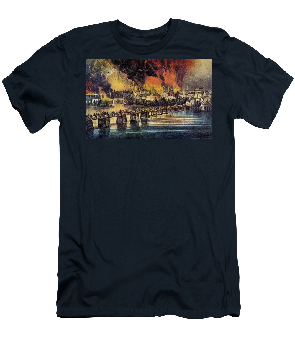 1865 Men's T-Shirt (Athletic Fit) featuring the photograph Fall Of Richmond, 1865 by Granger